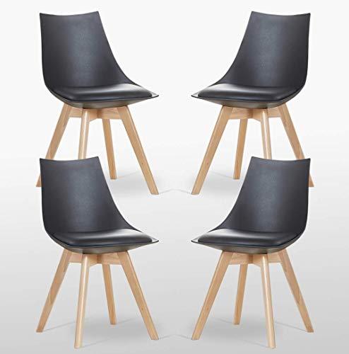 Ajie Lot de 4 Chaise de Cuisine Salle à Manger Design scandinave Assise rembourrée Pieds en Bois de hêtre Massif - Blanc