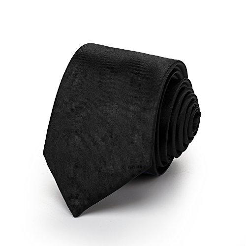 Rusty Bob - Krawatte schmal/dünn 3cm-5cm für Herren [auch für Kinder/Jungen] (uni,nicht gestreift) aus Polyester glänzt wie Seide - schwarz- (uni)