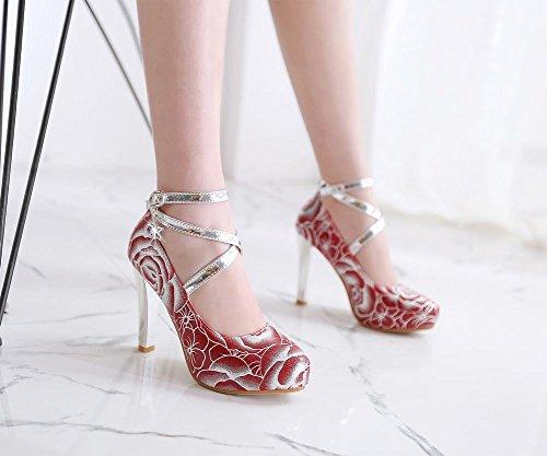 Mee Shoes Damen Ankle strap high heels Plateau Pumps Rot