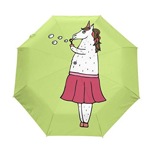Compact Travel Regenschirm Unicorn-Girl with Soap Bubbles Auto Open Close Regenschirm Windproof Anti-UV