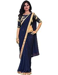Swara Fashion Women's Georgette Thread Work Saree(SFP-260_Navy Blue)