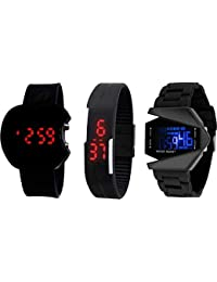 Swadesi Stuff Combo of 3 Digital Black Dial Kids Watches