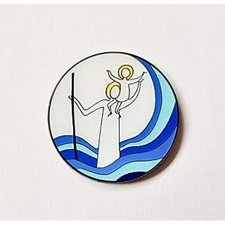 Herzmensch Christophorus-Plakette klein fürs Auto Schutzpatron Autoplakette Gute FAHRT Schutzengel selbstklebend 3,5 cm Heiliger Christopherus blau weiß Email
