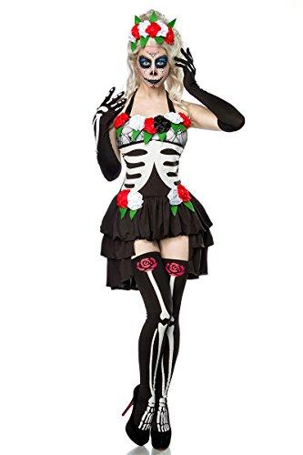 Preisvergleich Produktbild Damen Horror Skelett Geist Kostüm aus Kleid, Haarreif, Handschuhe, Stockings schwarz/weiß OneSize XS-M dunkel
