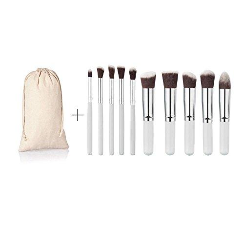 rosennie-10pinceaux-brosse-maquillage-fond-de-teint-poudre-fard-paupires-standard-blanc
