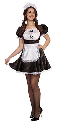 Karneval Klamotten Dienstmädchen Zimmermädchen Kostüm Damen sexy Stubenmädchen Damen-Kostüm schwarz-weiß Kleid inkl. Haube Größe 40/42 (Dienstmädchen Kleid Kostüm)