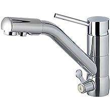 Clever Osmosis Caiman Urban - Grifo cocina monomando horizontal para agua tratada, 3 vías, sistema de ahorro de agua EcoNature