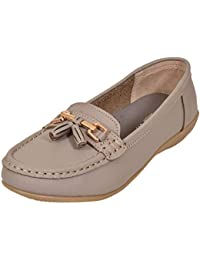 3cd4f5cdd8c Women Leather Flat Loafer Ladies Casual Comfy Slider Low Wedge Heel Work  Shoes