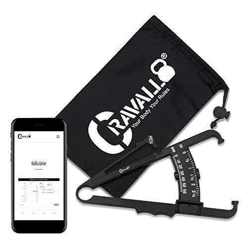 Cravallo® Caliper I Körperfettmessgerät I Fettzange I Unkompliziert und mit Video Anleitung