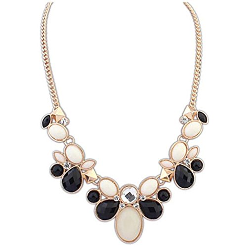 LHWY 1Pc Nueva Moda Crystal Rhinestone Flower Bib Chunky Statement Necklace