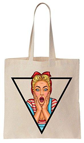 Strong Woman Pop Culture Portrait In A Triangle Frame Tote Bag Bolsos de Compras Reutilizables de Algodón