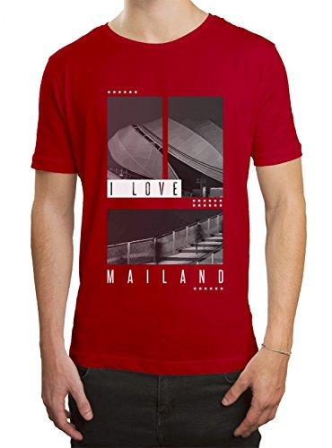 Shirt Happenz I Love Mailand Premium T-Shirt Liebe Italien Städtetrip Herren Shirt, Farbe:Rot (Red L190);Größe:S