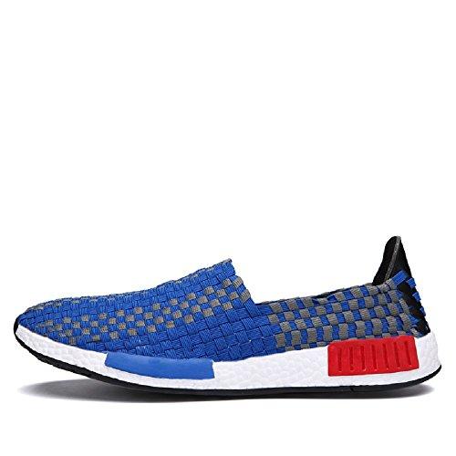 Peggie House Sport Chaussures De Couple Modèles Tissé Chaussures Casual Hommes Et Femmes Chaussures tissées Taille: 35-44 bleu & blanc