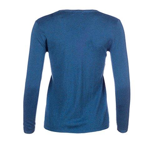 L. Bo Apparel, Savvy: Elegante maglione da donna con scollo a V in cashmere e cotone Blu