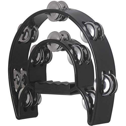 Healifty Hand Tambourin Halbmond Form Doppelter Schellenring Schellentrommel Schellenkranz Musikinstrumente (schwarz)