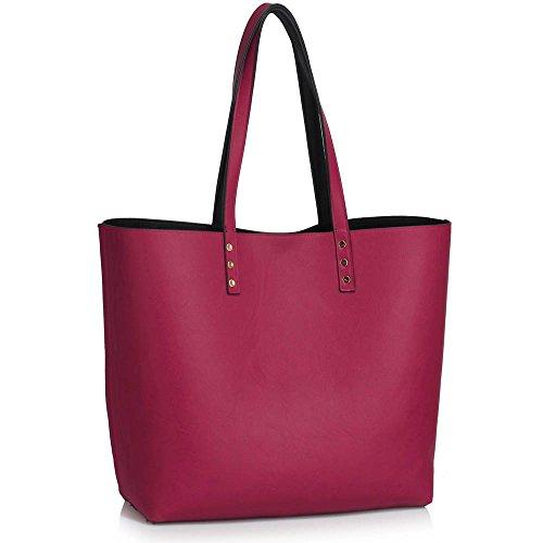 Damen Tote Handtaschen Damen Oben Griff Handtasche Reversibel Tragetasche Mit Oben Griff Und Öffnen Schließung A - Schwarz/Lila