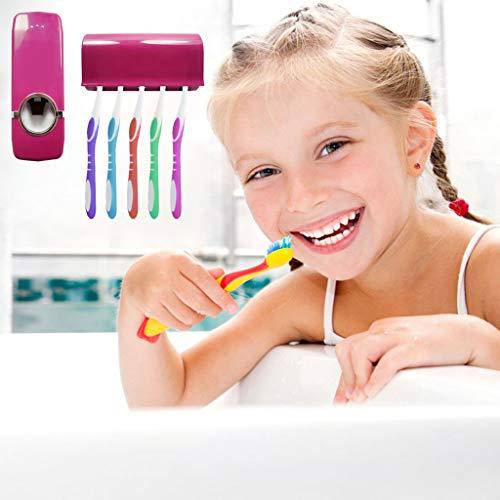 Automatic Toothpaste Presser, Chshe, Automatischer Zahnpastaspender Mit 5 Halterungen Für Bürstenhalter Neu, Rotwein Aus Kunststoff