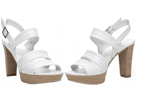 Nero Giardini P717550D Sabbia, Bianco e Nero Sandali Eleganti Tacchi Alti Donna Bianco