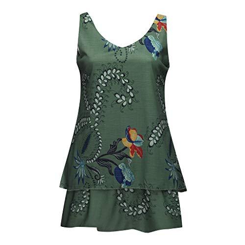 Kviklo Damen Plus Size Leibchen Blumendruck Layred Ärmellos Tunika Slouch Loose Mini Dress Oversize(5XL(46),Armeegrün) -