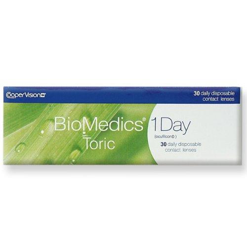 Biomedics Toric, torische Tageslinsen weich, 30 Stück / BC 8.7 mm / DIA 14.5 / CYL -0,75 / Achse 020 / -05,00 Dioptrien