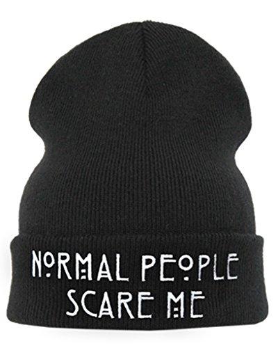 "American Horror Story Bonnet inscription ""normal people scare me"""