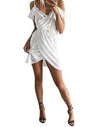 Ginli Mini Abiti Da Spiaggia Vestiti Donna Estate Pizzo Patchwork Abito  Sexy Off Tracolla Abito Vestito Eleganti… 5150f061e74