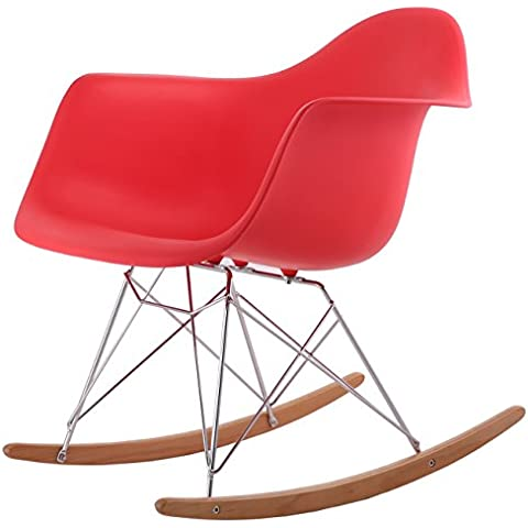 Sedia A dondolo, stile retrò Lounge Kit Eames rosso