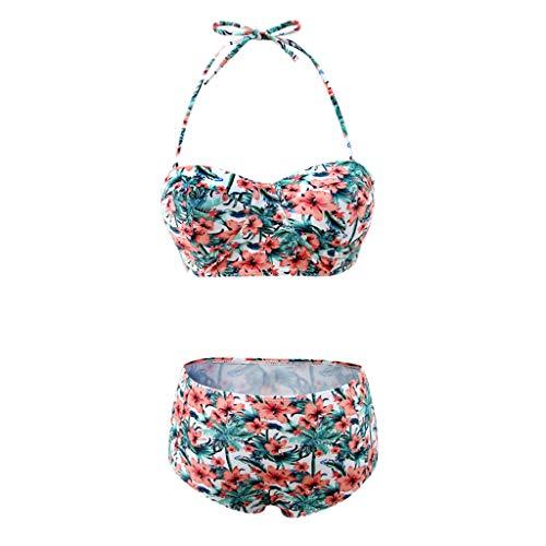 TOPKEAL Badeanzug Damen Neckholder Bademode Push up mit Hoher Taille Tankini Bandeau mit Bikini Triangle (Mehrfarbig, Medium)