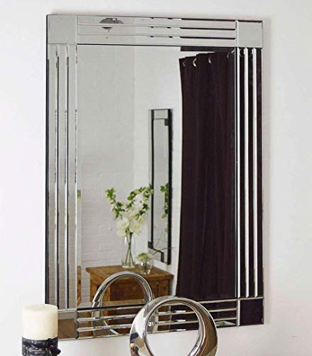 MirrorOutlet Espejo de Pared Veneciano con Borde Biselado, diseño Moderno, 70 cm x 100 cm, Color Plateado...