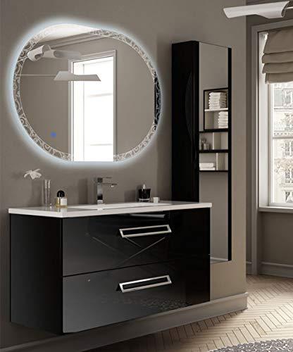 Mobile bagno sospeso moderno boston nero lucido, misura cm 100, con specchio a led, lavabo e colonna