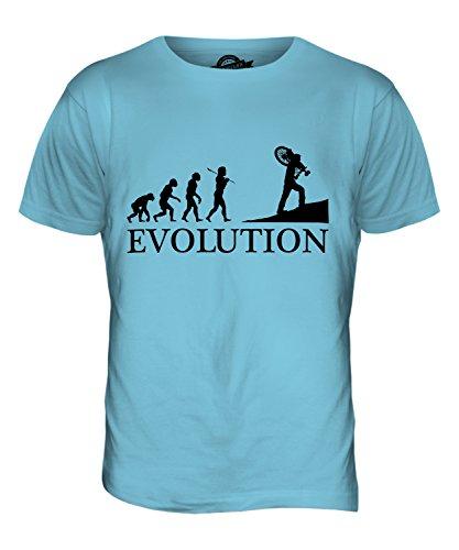 CandyMix Ciclocross Evoluzione Umana T-Shirt da Uomo Maglietta Azzurro Cielo