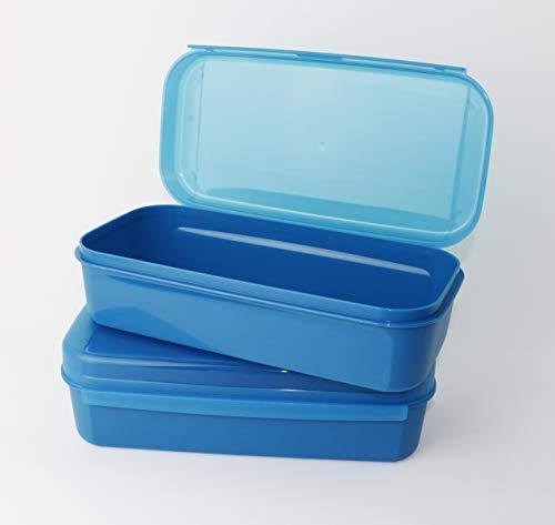 Tupperware Naschkätzchen, Apollo Royal Bellevue 2X 980ml Blau Brotdose, Vorratsdose, Naschbox + Geschenk Mini Trichter