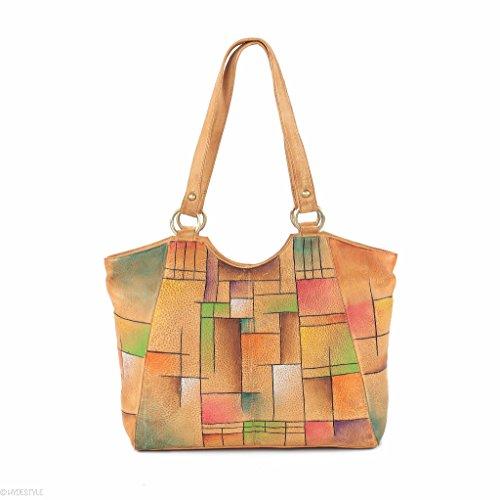 HYDESTYLE sumatrana (II) Manu handbemalt Shopper 26 x 32 x 10 LB20) Abstract Square