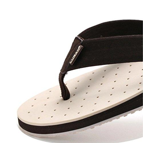 Baymate Uomo Spiaggia Infradito Casuale Sandali Traspirante Pantofole Beige