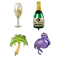 FLAMEER 4 Pcs Hawaiian Tropical Coconut Tree Foil Balloons + Large Flamingo Balloon + Champagne Balloons Set for Summer Beach Party Balloon Suppliers