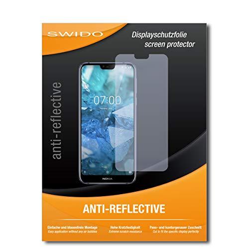 SWIDO Schutzfolie für Nokia 7.1 [2 Stück] Anti-Reflex MATT Entspiegelnd, Hoher Härtegrad, Schutz vor Kratzer/Bildschirmschutz, Bildschirmschutzfolie, Panzerglas-Folie