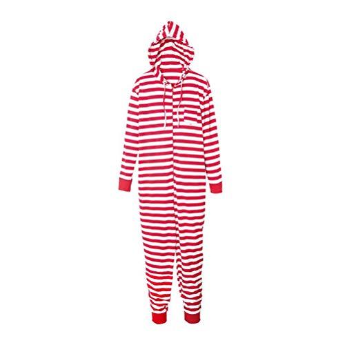 Mo Onesies (Zhhlinyuan Weihnachtsfamilien-Pyjamas Mit Kapuze - Männer Frauen Kinder Lange Ärmel Gestreift Nachtwäsche Onesies Familien-Outfits)