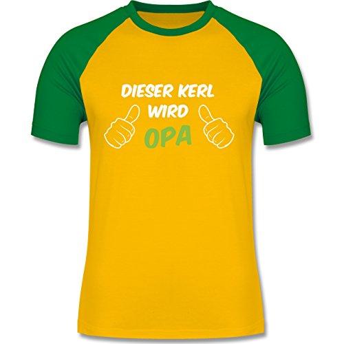 Shirtracer Opa - Dieser Kerl Wird Opa - Herren Baseball Shirt Gelb/Grün