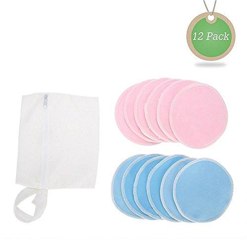 Almohadillas de lactancia orgánicas de bambú (12 piezas/set) + bolsa de viaje, natural y reutilizable, ultra suave y súper absorbente(Blue + Pink)
