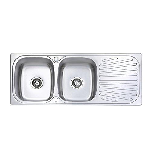 Jass Ferry Edelstahl-Küchenspüle, geschweißt, umkehrbares Abtropfgestell & Abfallrohrclips -