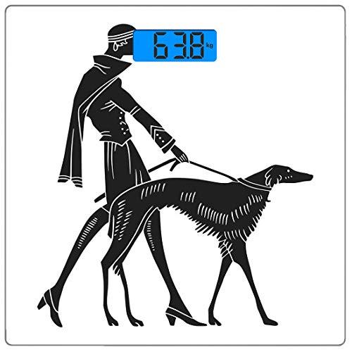 Nouveau Füße (Präzisions-Digital-Körpergewichtswaage Art Nouveau Ultra Slim Gehärtetes Glas Personenwaage Genaue Gewichtsmessungen, Mode Frau mit Hund zu Fuß Modell Eckzähne Lady Beauty Illustration, Schwarz und We)