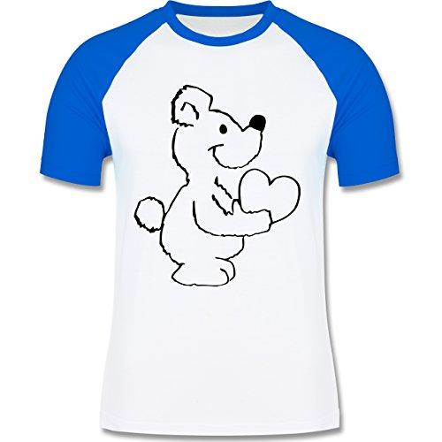 Romantisch - Herzbär - Herren Baseball Shirt Weiß/Royalblau