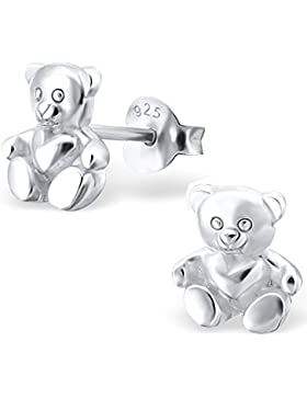 JAYARE Kinder-Ohrstecker Teddy 925 Sterling Silber 8 x 7 mm Ohrringe