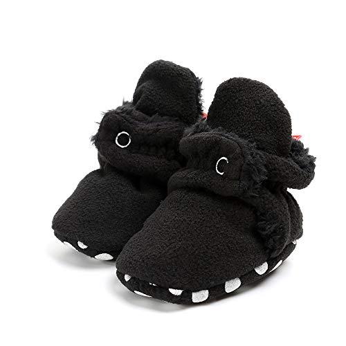 Baby Booties Rutschfeste Greifer Unisex Krabbel Hausschuhe SchüHchen Warme Winterschuhe Neugeborene Bootie Premium Soft Sole Anti-Rutsch Infant Kleinkind Prewalker Baby-Schuh(schwarz,13)
