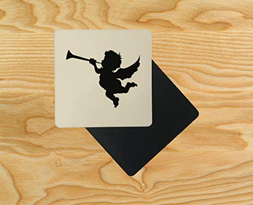Cupid Cherub Trumpet Silhouette Design Wooden Table Drink Coaster 10cm x 10cm (Pack of 4) -
