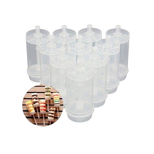 KAIMENG Runde Form Klar Push up Kuchen Pop Shooter (Push Pops) Kunststoffbehälter mit Deckel, Base & Sticks 24 Stück - Gel-3 Unzen Rohr