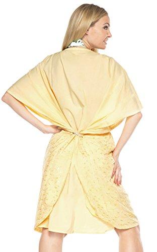 La Leela poncho couvrir robe maxi kimono femmes caftan robe courte dames rayonne boho maillot de bain sundress CasualWear Tunique plage de maillots de bain Jaune