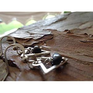 ✿ KLEINES DREIECK & NATURSTEIN ✿ schwarz silberne Ohrringe