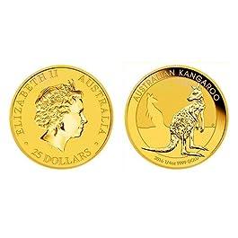 Australian Gold Nugget con canguro e profilo di Elisabetta II, monete d'oro da 1/4 di oncia (versi