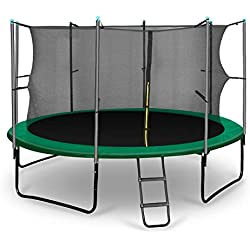 Klarfit Rocketstart 366 Cama elástica trampolin con Red de Seguridad (Superficie Base 366cm diametro, sujecion 4 Patas Doble, Varillas de sujecion Acolchadas, Lona Resistente a los Rayos UV, protecto